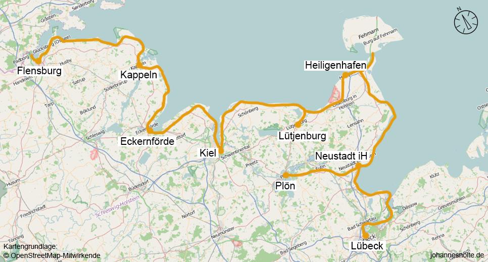Ostseeradweg Karte.Ostseeküstenradweg 2015 Flensburg Lübeck